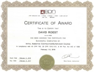 David's Certificate of Award